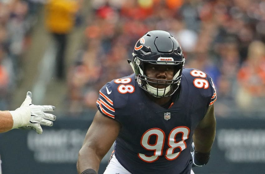 CHICAGO, IL - SEPTEMBER 30: Bilal Nichols #98 of the Chicago Bears rushes against the Tampa Bay Buccaneers at Soldier Field on September 30, 2018 in Chicago, Illinois. The Bears defeated the Buccaneers 48-10. (Photo by Jonathan Daniel/Getty Images)