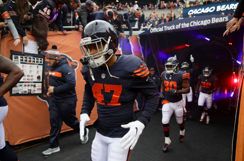 CHICAGO, IL - OCTOBER 28: Isaiah Irving #47 of the Chicago Bears runs out to the field prior to the start of the game against the New York Jets at Soldier Field on October 28, 2018 in Chicago, Illinois. (Photo by Jonathan Daniel/Getty Images)