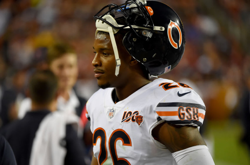 LANDOVER, MD - SEPTEMBER 23: Deon Bush #26 of the Chicago Bears looks on during the second half against the Washington Redskins at FedExField on September 23, 2019 in Landover, Maryland. (Photo by Will Newton/Getty Images)