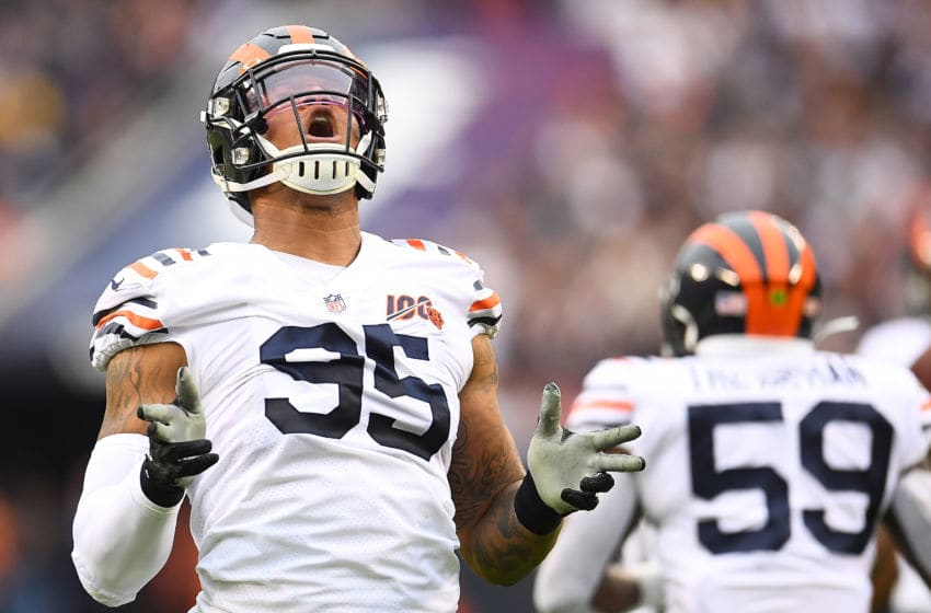 CHICAGO, ILLINOIS - SEPTEMBER 29: Roy Robertson-Harris #95 of the Chicago Bears celebrates after a sack during the first half against the Minnesota Vikings at Soldier Field on September 29, 2019 in Chicago, Illinois. (Photo by Stacy Revere/Getty Images)