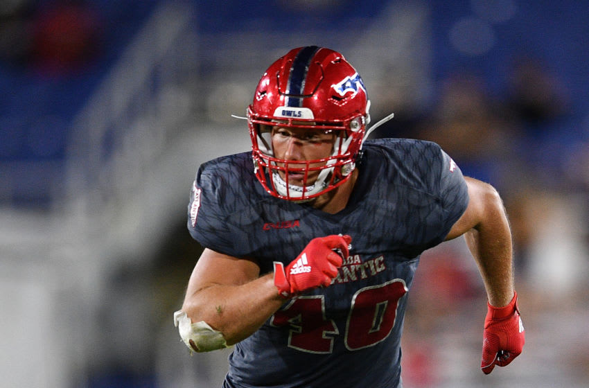BOCA RATON, FLORIDA - NOVEMBER 30: Harrison Bryant #40 of the Florida Atlantic Owls in action against the Southern Miss Golden Eagles in the second half at FAU Stadium on November 30, 2019 in Boca Raton, Florida. (Photo by Mark Brown/Getty Images)