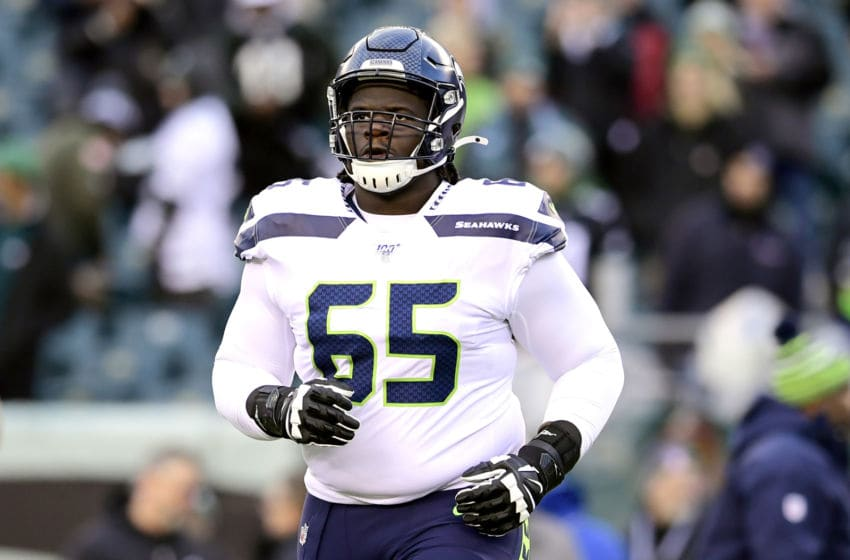 PHILADELPHIA, PENNSYLVANIA - JANUARY 05: Germain Ifedi #65 of the Seattle Seahawks warms up prior to the NFC Wild Card Playoff game against the Philadelphia Eagles at Lincoln Financial Field on January 05, 2020 in Philadelphia, Pennsylvania. (Photo by Steven Ryan/Getty Images)
