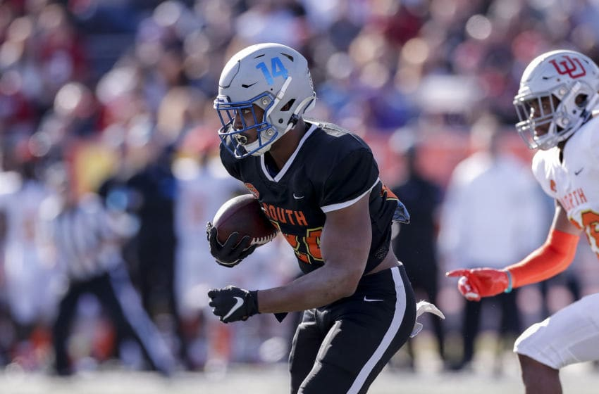 MOBILE, AL - JANUARY 25: Runningback Antonio Gibson #24 from Memphis of the South Team on a running play during the 2020 Resse's Senior Bowl at Ladd-Peebles Stadium on January 25, 2020 in Mobile, Alabama. The North Team defeated the South Team 34 to 17. (Photo by Don Juan Moore/Getty Images)