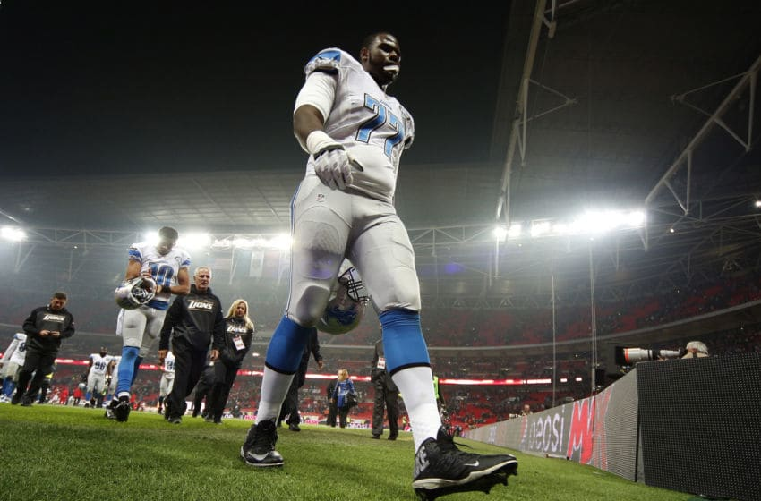 LONDON, ENGLAND - NOVEMBER 01: Cornelius Lucas #77 of Detroit Lions leaves the field of play at the end of the game during the NFL game between Kansas City Chiefs and Detroit Lions at Wembley Stadium on November 01, 2015 in London, England. (Photo by Alan Crowhurst/Getty Images)