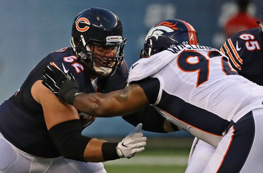 CHICAGO, IL - AUGUST 11: Ted Larsen #62 of the Chicago Bears blocks Sylvester Williams #92 of the Denver Broncos at Soldier Field on August 11, 2016 in Chicago, Illinois. (Photo by Jonathan Daniel/Getty Images)