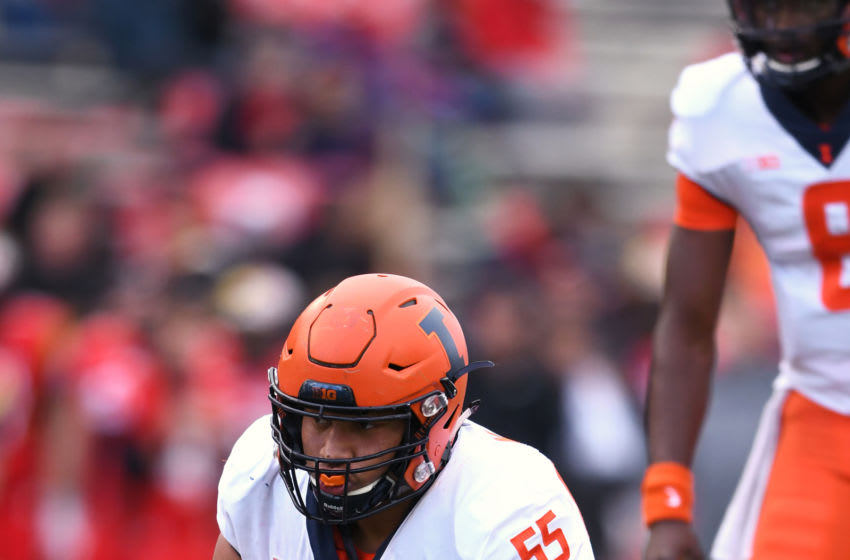 COLLEGE PARK, MD - OCTOBER 27: Kendrick Green #55 of the Illinois Fighting Illini in position during a college football game against the Maryland Terrapins at Capitol One Field at Maryland Stadium on October 27, 2018 at College Park, Maryland. (Photo by Mitchell Layton/Getty Images)