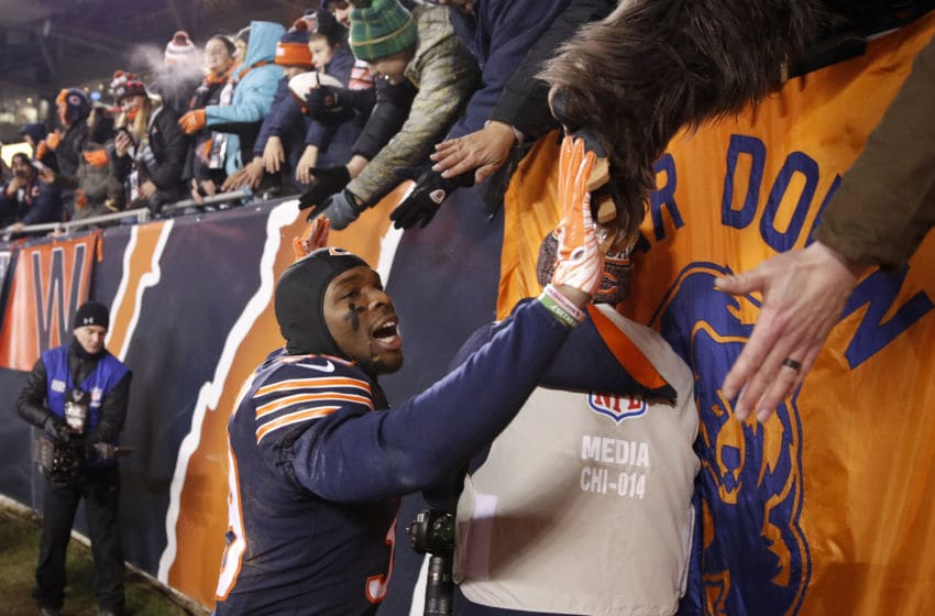 CHICAGO, IL - DECEMBER 09: Eddie Jackson #39 of the Chicago Bears celebrates after defeating the Los Angeles Rams 15-6 at Soldier Field on December 9, 2018 in Chicago, Illinois. (Photo by Joe Robbins/Getty Images)
