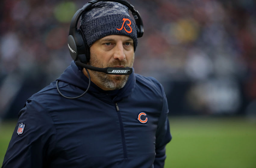 CHICAGO, IL - OCTOBER 28: Head coach Matt Nagy of the Chicago Bears walks on the sidelines in the second quarter against the New York Jets at Soldier Field on October 28, 2018 in Chicago, Illinois. (Photo by Jonathan Daniel/Getty Images)