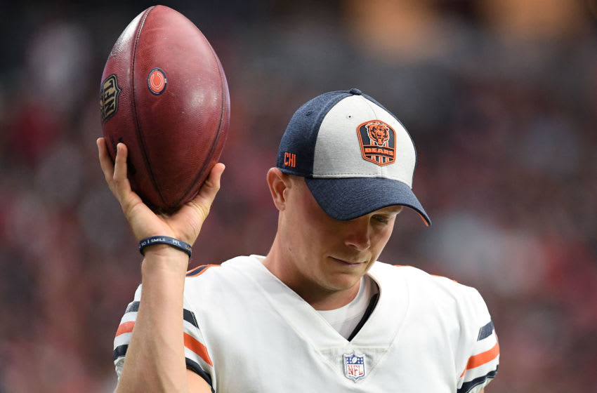 GLENDALE, AZ - SEPTEMBER 23: Kicker Cody Parkey #1 of the Chicago Bears holds a football on the sidelines of the game against the Arizona Cardinals at State Farm Stadium on September 23, 2018 in Glendale, Arizona. The Chicago Bears won 16-14. (Photo by Jennifer Stewart/Getty Images)