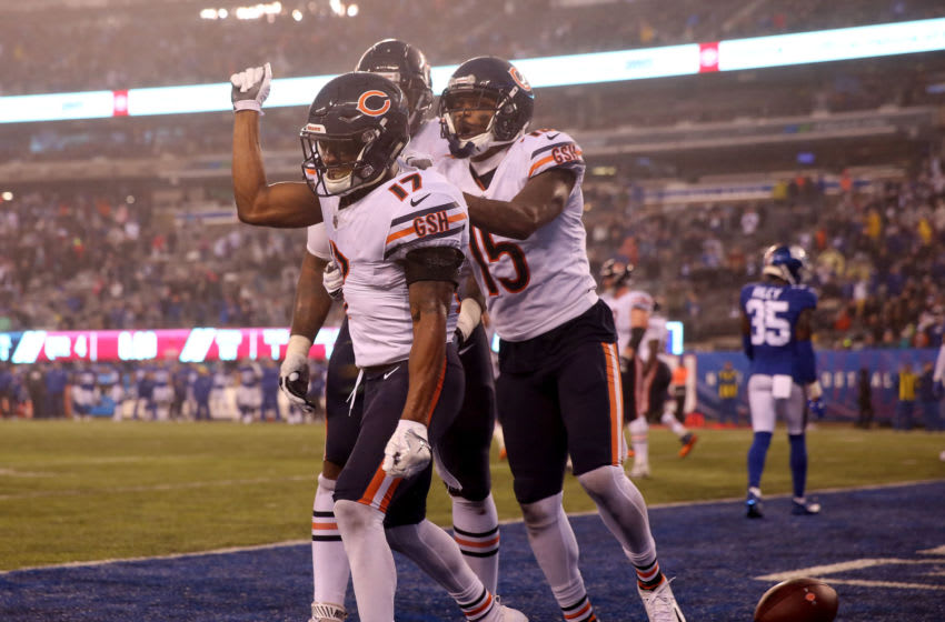 EAST RUTHERFORD, NEW JERSEY - DECEMBER 02: Anthony Miller #17 of the Chicago Bears celebrates his touchdown in the final seconds of regulation play with teammates Bobby Massie #70 and Josh Bellamy #15 to force overtime against the New York Giants at MetLife Stadium on December 02, 2018 in East Rutherford, New Jersey. (Photo by Elsa/Getty Images)