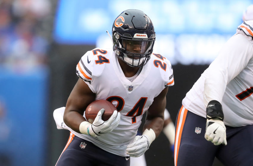 EAST RUTHERFORD, NEW JERSEY - DECEMBER 02: Jordan Howard #24 of the Chicago Bears runs the ball against the New York Giants during the first quarter at MetLife Stadium on December 02, 2018 in East Rutherford, New Jersey. (Photo by Elsa/Getty Images)