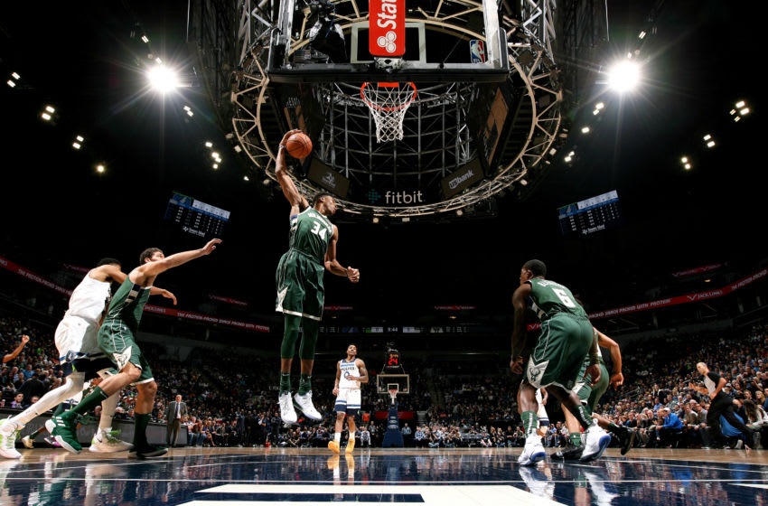 MINNEAPOLIS, MN - OCTOBER 26: Giannis Antetokounmpo #34 of the Milwaukee Bucks handles the ball against the Minnesota Timberwolves on October 26, 2018 at Target Center in Minneapolis, Minnesota. NOTE TO USER: User expressly acknowledges and agrees that, by downloading and or using this Photograph, user is consenting to the terms and conditions of the Getty Images License Agreement. Mandatory Copyright Notice: Copyright 2018 NBAE (Photo by David Sherman/NBAE via Getty Images)
