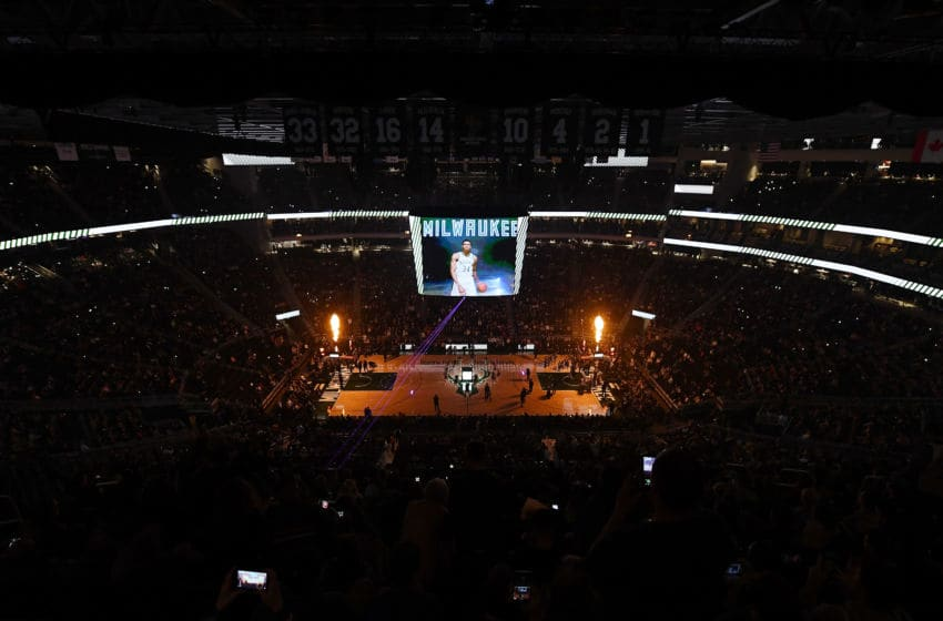 MILWAUKEE, WI - OCTOBER 27: A general view of the Fiserv Forum during player introductions prior to a game between the Milwaukee Bucks and the Orlando Magic on October 27, 2018 in Milwaukee, Wisconsin. NOTE TO USER: User expressly acknowledges and agrees that, by downloading and or using this photograph, User is consenting to the terms and conditions of the Getty Images License Agreement. (Photo by Stacy Revere/Getty Images)
