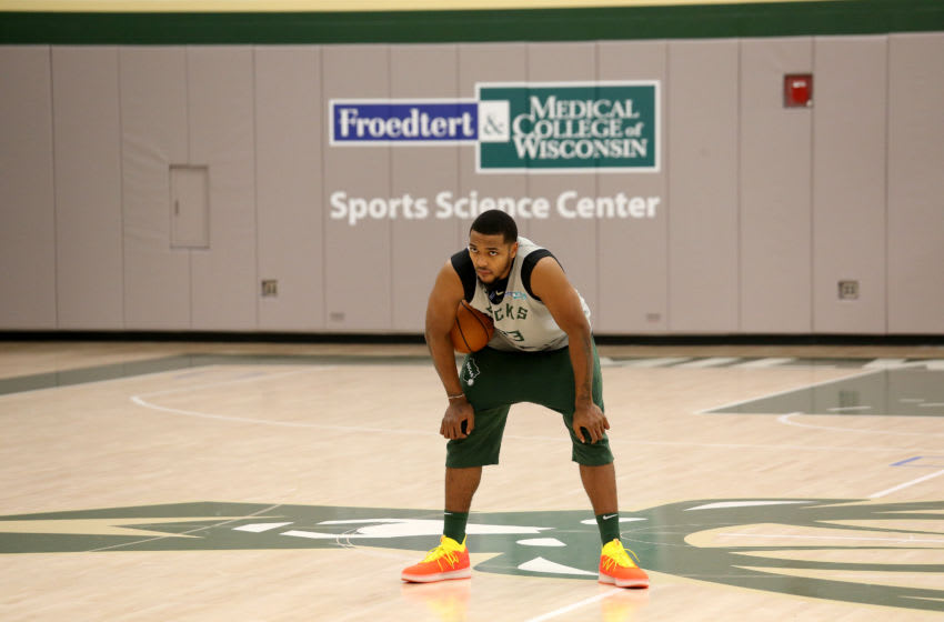 MILWAUKEE, WI - NOVEMBER 15: Sterling Brown #23 of the Milwaukee Bucks handles the ball during an all-access practice on November 15, 2018 at the Froedtert & the Medical College of Wisconsin Sports Science Center in Milwaukee, Wisconsin. NOTE TO USER: User expressly acknowledges and agrees that, by downloading and or using this Photograph, user is consenting to the terms and conditions of the Getty Images License Agreement. Mandatory Copyright Notice: Copyright 2018 NBAE (Photo by Gary Dineen/NBAE via Getty Images)