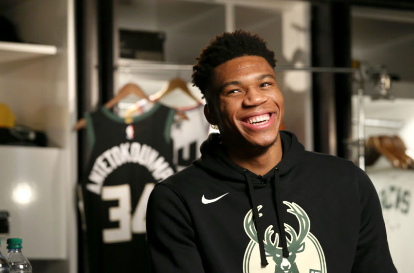 MILWAUKEE, WI - FEBRUARY 7: Giannis Antetokounmpo #34 of the Milwaukee Bucks smiles during the 2019 All-Star Draft on February 7, 2019 at the Fiserv Forum Center in Milwaukee, Wisconsin. NOTE TO USER: User expressly acknowledges and agrees that, by downloading and or using this Photograph, user is consenting to the terms and conditions of the Getty Images License Agreement. Mandatory Copyright Notice: Copyright 2019 NBAE (Photo by Gary Dineen/NBAE via Getty Images).