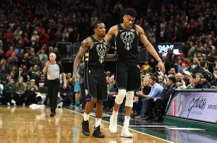 MILWAUKEE, WISCONSIN - JANUARY 25: Giannis Antetokounmpo #34 and Eric Bledsoe #6 of the Milwaukee Bucks walk to the bench during a game against the Charlotte Hornets at Fiserv Forum on January 25, 2019 in Milwaukee, Wisconsin. NOTE TO USER: User expressly acknowledges and agrees that, by downloading and or using this photograph, User is consenting to the terms and conditions of the Getty Images License Agreement. (Photo by Stacy Revere/Getty Images)