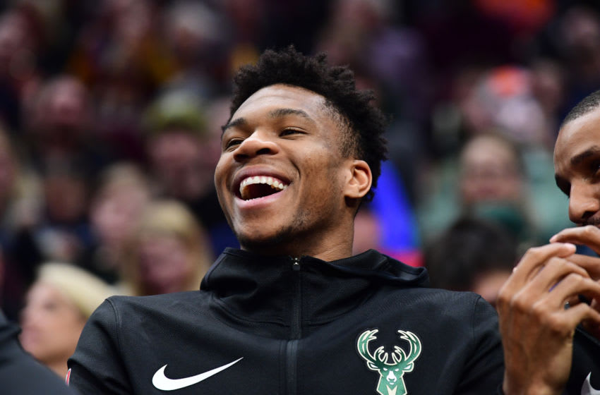 CLEVELAND, OHIO - MARCH 20: Giannis Antetokounmpo #34 of the Milwaukee Bucks watches from the bench against the Cleveland Cavaliers during the second half at Quicken Loans Arena on March 20, 2019 in Cleveland, Ohio. The Cavaliers defeated the Bucks 107-102. NOTE TO USER: User expressly acknowledges and agrees that, by downloading and or using this photograph, User is consenting to the terms and conditions of the Getty Images License Agreement. (Photo by Jason Miller/Getty Images)