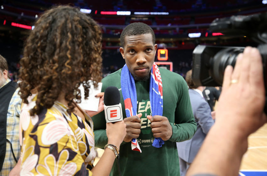 DETROIT, MI - APRIL 22: Eric Bledsoe #6 of the Milwaukee Bucks speaks to the media after Game Four of Round One against the Detroit Pistons during the 2019 NBA Playoffs on April 22, 2019 at Little Caesars Arena in Detroit, Michigan. NOTE TO USER: User expressly acknowledges and agrees that, by downloading and/or using this photograph, user is consenting to the terms and conditions of the Getty Images License Agreement. Mandatory Copyright Notice: Copyright 2019 NBAE (Photo by Brian Sevald/NBAE via Getty Images)