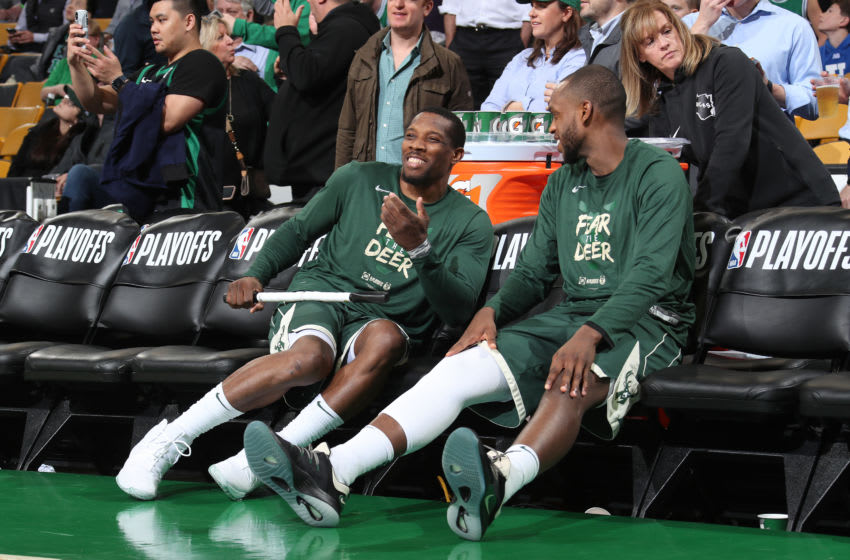 BOSTON, MA - MAY 6: Eric Bledsoe #6 and Khris Middleton #22 of the Milwaukee Bucks talk during Game Four of the Eastern Conference Semifinals of the 2019 NBA Playoffs against the Boston Celtics on May 6, 2019 at the TD Garden in Boston, Massachusetts. NOTE TO USER: User expressly acknowledges and agrees that, by downloading and/or using this photograph, user is consenting to the terms and conditions of the Getty Images License Agreement. Mandatory Copyright Notice: Copyright 2019 NBAE (Photo by Nathaniel S. Butler/NBAE via Getty Images)