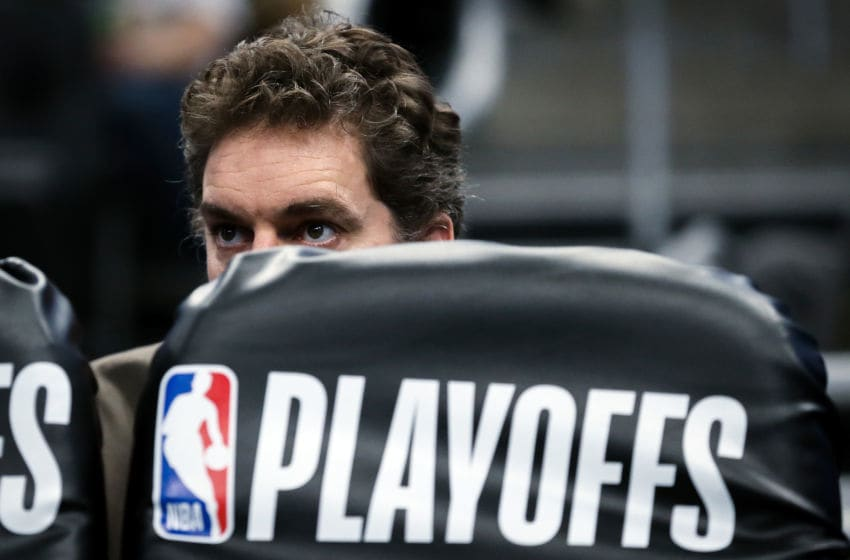 MILWAUKEE, WISCONSIN - APRIL 28: Pau Gasol #17 of the Milwaukee Bucks looks on in the third quarter against the Boston Celtics during Game One of Round Two of the 2019 NBA Playoffs at the Fiserv Forum on April 28, 2019 in Milwaukee, Wisconsin. NOTE TO USER: User expressly acknowledges and agrees that, by downloading and or using this photograph, User is consenting to the terms and conditions of the Getty Images License Agreement. (Photo by Dylan Buell/Getty Images)