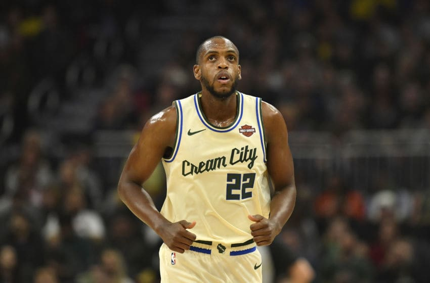 MILWAUKEE, WISCONSIN - NOVEMBER 30: Khris Middleton #22 of the Milwaukee Bucks looks on against the Charlotte Hornets at Fiserv Forum on November 30, 2019 in Milwaukee, Wisconsin. NOTE TO USER: User expressly acknowledges and agrees that, by downloading and or using this photograph, User is consenting to the terms and conditions of the Getty Images License Agreement. (Photo by Quinn Harris/Getty Images)