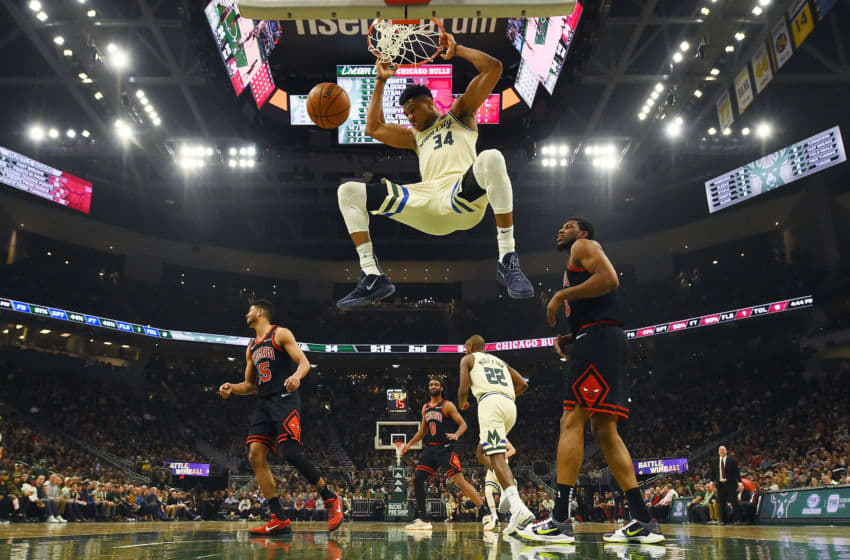 MILWAUKEE, WISCONSIN - JANUARY 20: Giannis Antetokounmpo #34 of the Milwaukee Bucks dunks during the first half of a game against the Chicago Bulls at Fiserv Forum on January 20, 2020 in Milwaukee, Wisconsin. NOTE TO USER: User expressly acknowledges and agrees that, by downloading and or using this photograph, User is consenting to the terms and conditions of the Getty Images License Agreement. (Photo by Stacy Revere/Getty Images)