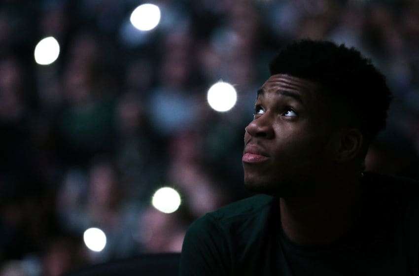 MILWAUKEE, WISCONSIN - FEBRUARY 02: Giannis Antetokounmpo #34 of the Milwaukee Bucks looks on before the game against the Phoenix Suns at the Fiserv Forum on February 02, 2020 in Milwaukee, Wisconsin. NOTE TO USER: User expressly acknowledges and agrees that, by downloading and or using this photograph, User is consenting to the terms and conditions of the Getty Images License Agreement. (Photo by Dylan Buell/Getty Images)