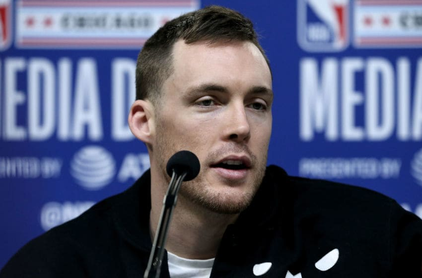 CHICAGO, ILLINOIS - FEBRUARY 15: Pat Connaughton of the Milwaukee Bucks speaks to the media during 2020 NBA All-Star - Practice & Media Day at Wintrust Arena on February 15, 2020 in Chicago, Illinois. NOTE TO USER: User expressly acknowledges and agrees that, by downloading and or using this photograph, User is consenting to the terms and conditions of the Getty Images License Agreement. (Photo by Dylan Buell/Getty images)