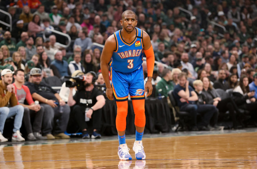 MILWAUKEE, WISCONSIN - FEBRUARY 28: Chris Paul #3 of the Oklahoma City Thunder looks on in the first quarter against the Milwaukee Bucks at the Fiserv Forum on February 28, 2020 in Milwaukee, Wisconsin. NOTE TO USER: User expressly acknowledges and agrees that, by downloading and or using this photograph, User is consenting to the terms and conditions of the Getty Images License Agreement. (Photo by Dylan Buell/Getty Images)