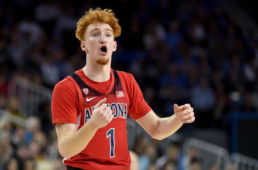LOS ANGELES, CA - FEBRUARY 29: Nico Mannion #1 of the Arizona Wildcats instructs the offense during the game against the UCLA Bruins at Pauley Pavilion on February 29, 2020 in Los Angeles, California. The UCLA Bruins defeated the Arizona Wildcats 69-64. (Photo by Jayne Kamin-Oncea/Getty Images)
