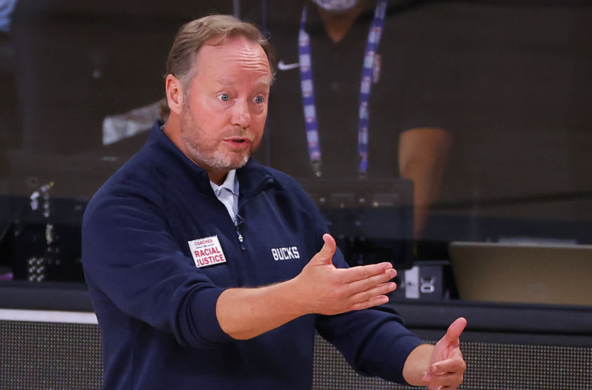 LAKE BUENA VISTA, FLORIDA - AUGUST 29: Mike Budenholzer of the Milwaukee Bucks argues a call against the Orlando Magic during the second quarter in Game Five of the Eastern Conference First Round during the 2020 NBA Playoffs at AdventHealth Arena at ESPN Wide World Of Sports Complex on August 29, 2020 in Lake Buena Vista, Florida. NOTE TO USER: User expressly acknowledges and agrees that, by downloading and or using this photograph, User is consenting to the terms and conditions of the Getty Images License Agreement. (Photo by Kevin C. Cox/Getty Images)