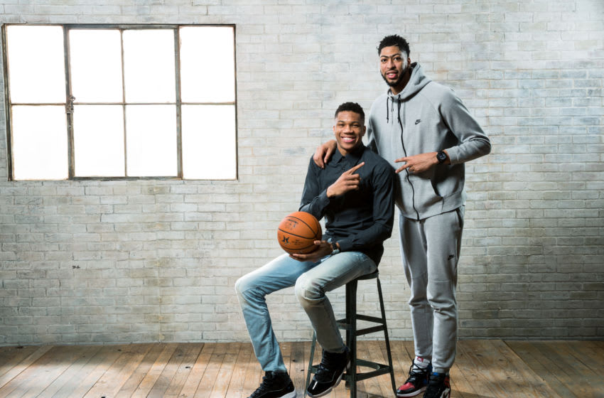 NEW ORLEANS, LA - FEBRUARY 16: Giannis Anetokounmpo of the Milwaukee Bucks and Anthony Davis of the New Orleans Pelicans poses for a portrait during the 2017 All-Star Media Circuit at the Ritz Carlton in New Orleans, LA. NOTE TO USER: User expressly acknowledges and agrees that, by downloading and/or using this Photograph, user is consenting to the terms and conditions of the Getty Images License Agreement. Mandatory Copyright Notice: Copyright 2017 NBAE (Photo by Nathaniel S. Butler/NBAE via Getty Images)