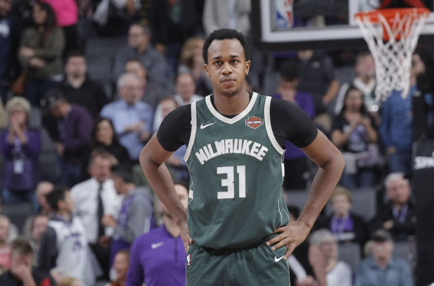 SACRAMENTO, CA - NOVEMBER 28: John Henson #31 of the Milwaukee Bucks looks on during the game against the Sacramento Kings on November 28, 2017 at Golden 1 Center in Sacramento, California. NOTE TO USER: User expressly acknowledges and agrees that, by downloading and or using this photograph, User is consenting to the terms and conditions of the Getty Images Agreement. Mandatory Copyright Notice: Copyright 2017 NBAE (Photo by Rocky Widner/NBAE via Getty Images)
