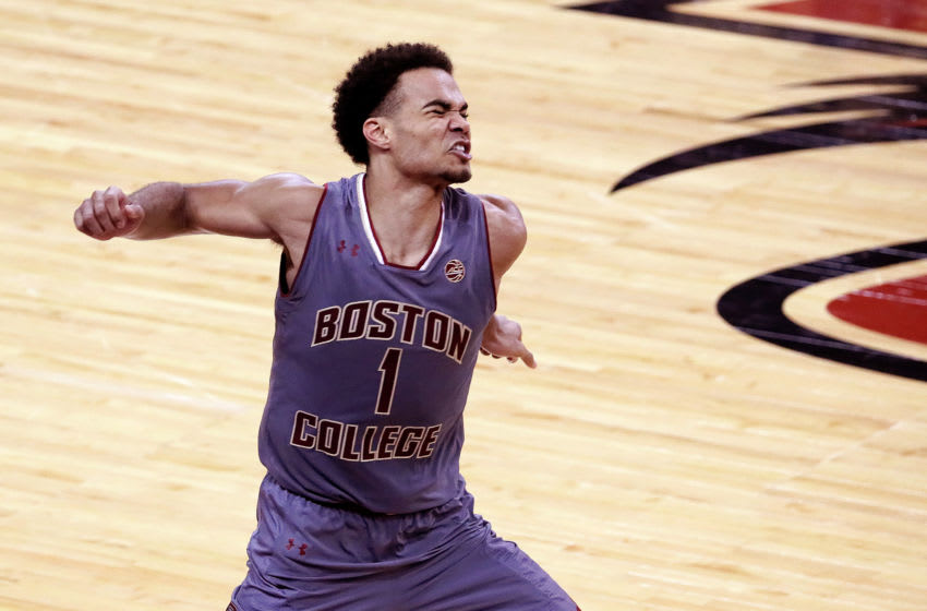 NEWTON, MA - DECEMBER 9: Boston College Eagles guard Jerome Robinson (1) celebrates after hitting a 3 pointer for a 81-79 lead in the second half. Boston College hosts the top-ranked Duke Blue Devils in a men's college basketball game at Conte Forum in Newton, MA on Dec. 9, 2017. (Photo by Barry Chin/The Boston Globe via Getty Images)