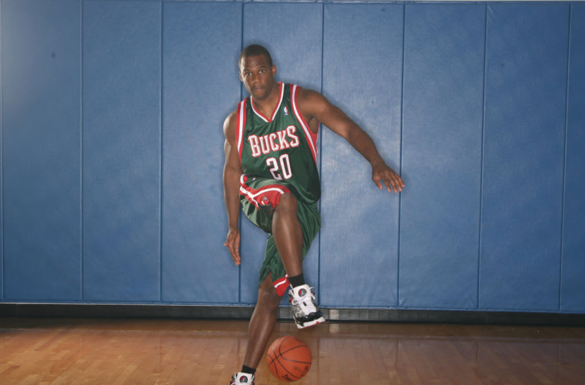 TARRYTOWN,NY - AUGUST 9: Jodie Meeks #20 of the Milwaukee Bucks poses during the 2009 NBA rookie portrait shoot at the MSG training facility August 9, 2009 in Tarrytown, New York. NOTE TO USER: User expressly acknowledges and agrees that, by downloading and or using this photograph, User is consenting to the terms and conditions of the Getty Images License Agreement. Mandatory Copyright Notice: Copyright 2009 NBAE (Photo by Nathaniel S. Butler/NBAE via Getty Images)