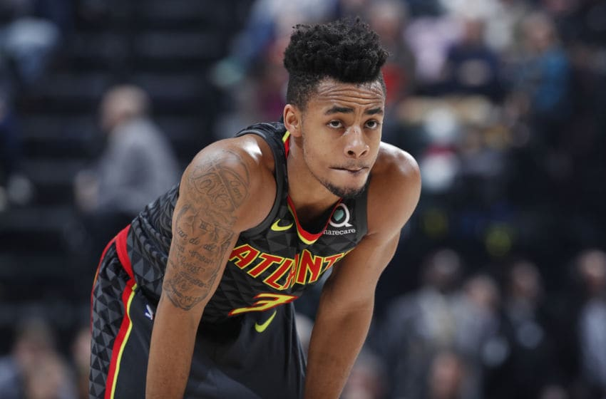 INDIANAPOLIS, IN - MARCH 09: Jaylen Morris #3 of the Atlanta Hawks looks on against the Indiana Pacers during a game at Bankers Life Fieldhouse on March 9, 2018 in Indianapolis, Indiana. The Pacers won 112-87. NOTE TO USER: User expressly acknowledges and agrees that, by downloading and or using the photograph, User is consenting to the terms and conditions of the Getty Images License Agreement. (Photo by Joe Robbins/Getty Images)