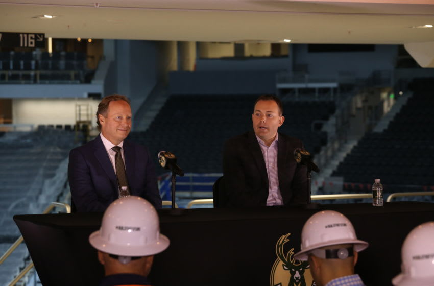 MILWAUKEE, WI - MAY 21: Milwaukee Bucks general manager Jon Horst introduces Mike Budenholzer as the team's new head coach during a press conference at the Wisconsin Entertainment and Sports Center on May 21, 2018 in Milwaukee, Wisconsin. NOTE TO USER: User expressly acknowledges and agrees that, by downloading and or using this Photograph, user is consenting to the terms and conditions of the Getty Images License Agreement. Mandatory Copyright Notice: Copyright 2018 NBAE (Photo by Gary Dineen/NBAE via Getty Images)