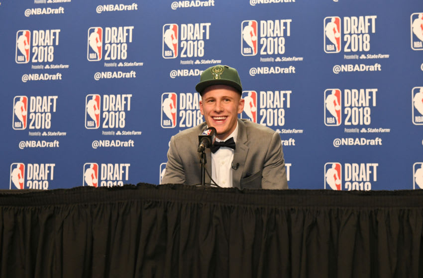 BROOKLYN, NY - JUNE 21: Donte DiVincenzo speaks to the media after being selected seventeenth overall by the Milwaukee Bucks at the 2018 NBA Draft on June 21, 2018 at the Barclays Center in Brooklyn, New York. NOTE TO USER: User expressly acknowledges and agrees that, by downloading and/or using this photograph, user is consenting to the terms and conditions of the Getty Images License Agreement. Mandatory Copyright Notice: Copyright 2018 NBAE (Photo by Kostas Lymperopoulos/NBAE via Getty Images)