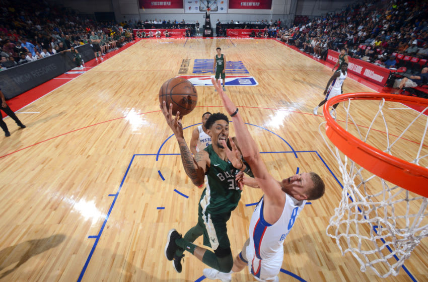 LAS VEGAS, NV - JULY 6: Christian Wood #35 of the Milwaukee Bucks goes to the basket against the Detroit Pistons during the 2018 Las Vegas Summer League on July 6, 2018 at the Cox Pavilion in Las Vegas, Nevada. NOTE TO USER: User expressly acknowledges and agrees that, by downloading and/or using this photograph, user is consenting to the terms and conditions of the Getty Images License Agreement. Mandatory Copyright Notice: Copyright 2018 NBAE (Photo by David Dow/NBAE via Getty Images)