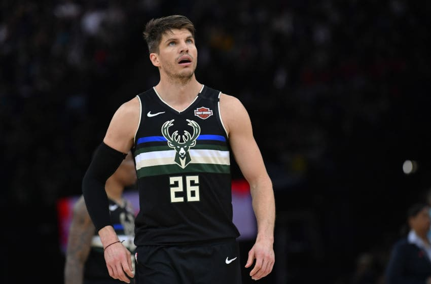 PARIS, FRANCE - JANUARY 24: Kyle Korver of the Milwaukee Bucks looks on during the NBA Paris Game match between Charlotte Hornets and Milwaukee Bucks on January 24, 2020 in Paris, France. (Photo by Aurelien Meunier/Getty Images)