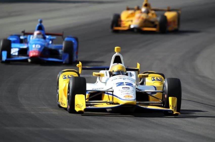 Aug 23, 2015; Long Pond, PA, USA; Verizon IndyCar Series driver Simon Pagenaud (22) races during the ABC Supply 500 at Pocono Raceway. Mandatory Credit: Matthew O