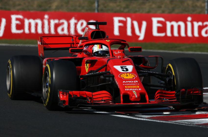 BUDAPEST, HUNGARY - JULY 29: Sebastian Vettel of Germany driving the (5) Scuderia Ferrari SF71H (Photo by Charles Coates/Getty Images)
