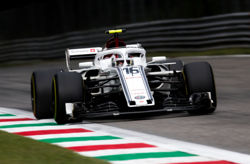 MONZA, ITALY - AUGUST 31: Charles Leclerc of Monaco driving the (16) Alfa Romeo Sauber F1 Team C37 Ferrari on track during practice for the Formula One Grand Prix of Italy at Autodromo di Monza on August 31, 2018 in Monza, Italy. (Photo by Lars Baron/Getty Images)