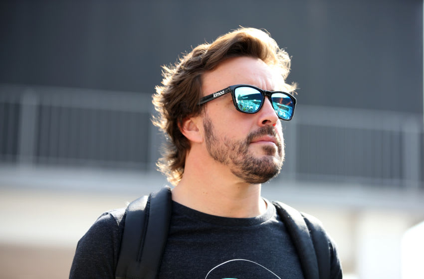 MEXICO CITY, MEXICO - OCTOBER 25: Fernando Alonso of Spain and McLaren F1 walks in the Paddock during previews ahead of the Formula One Grand Prix of Mexico at Autodromo Hermanos Rodriguez on October 25, 2018 in Mexico City, Mexico. (Photo by Charles Coates/Getty Images)