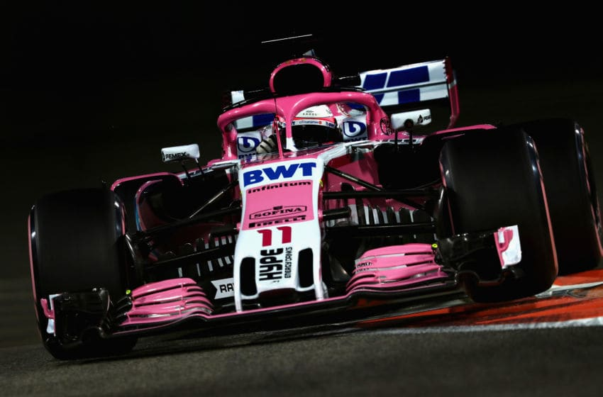 ABU DHABI, UNITED ARAB EMIRATES - NOVEMBER 23: Sergio Perez of Mexico driving the (11) Sahara Force India F1 Team VJM11 Mercedes on track during practice for the Abu Dhabi Formula One Grand Prix at Yas Marina Circuit on November 23, 2018 in Abu Dhabi, United Arab Emirates. (Photo by Mark Thompson/Getty Images)