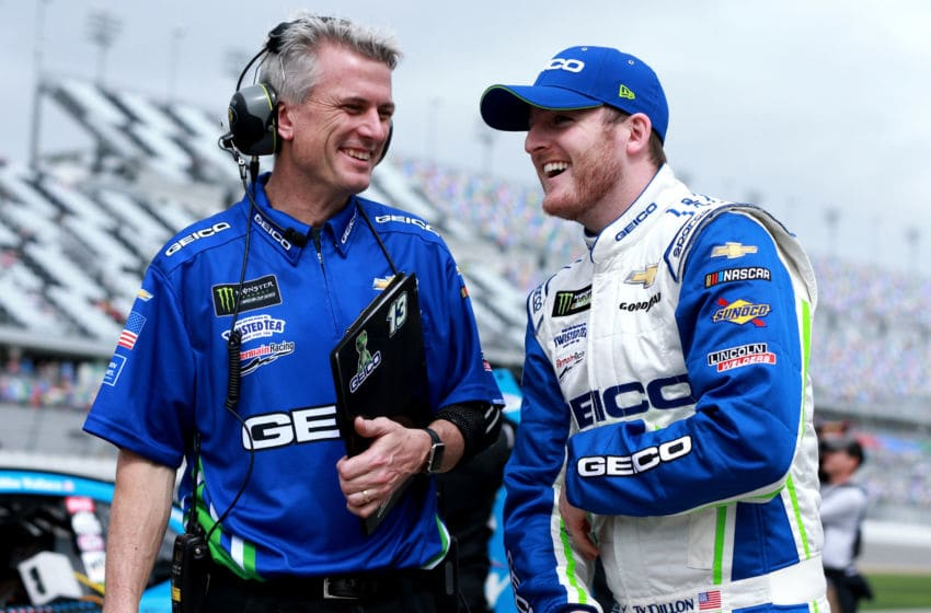 DAYTONA BEACH, FL - FEBRUARY 10: Ty Dillon, driver of the #13 GEICO Chevrolet, talks with crew chief Matt Borland during qualifying for the Monster Energy NASCAR Cup Series 61st Annual Daytona 500 at Daytona International Speedway on February 10, 2019 in Daytona Beach, Florida. (Photo by Sean Gardner/Getty Images)