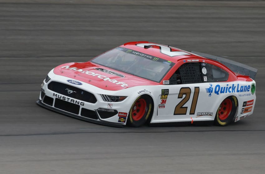 FORT WORTH, TX - MARCH 29: Paul Menard, driver of the #21 Motorcraft/Quick Lane Tire & Auto Center Ford, practices for the Monster Energy NASCAR Cup Series O'Reilly Auto Parts 500 at Texas Motor Speedway on March 29, 2019 in Fort Worth, Texas. (Photo by Matt Sullivan/Getty Images)