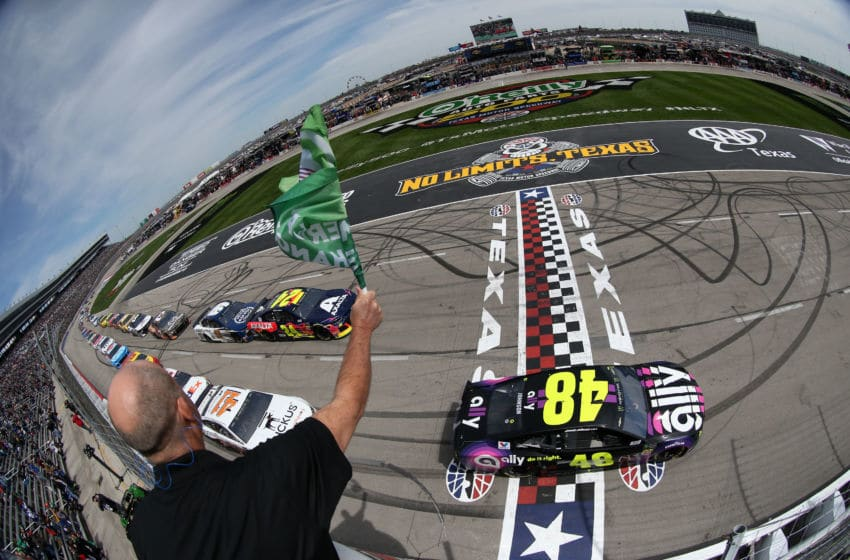 FORT WORTH, TX - MARCH 31: Jimmie Johnson, driver of the #48 Ally Chevrolet, leads the field at the start of the Monster Energy NASCAR Cup Series O'Reilly Auto Parts 500 at Texas Motor Speedway on March 31, 2019 in Fort Worth, Texas. (Photo by Matt Sullivan/Getty Images)