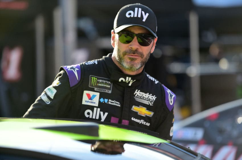 BRISTOL, TN - APRIL 06: Jimmie Johnson, driver of the #48 Ally Chevrolet, stands in the garage area during practice for the Monster Energy NASCAR Cup Series Food City 500 at Bristol Motor Speedway on April 6, 2019 in Bristol, Tennessee. (Photo by Jared C. Tilton/Getty Images)