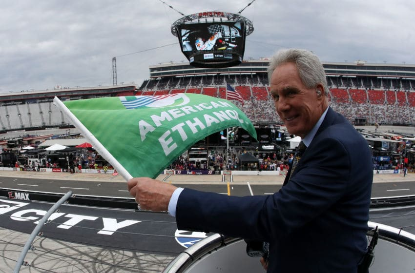 BRISTOL, TN - APRIL 07: Darrell Waltrip waves the green flag prior to the Monster Energy NASCAR Cup Series Food City 500 at Bristol Motor Speedway on April 7, 2019 in Bristol, Tennessee. (Photo by Chris Graythen/Getty Images)
